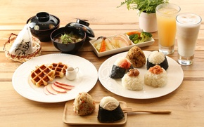 Wallpaper figure, vegetables, Breakfast, rolls, drinks, soup, waffles