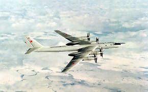 Picture the sky, the plane, art, strategic, Soviet, turboprop, Intercontinental, Tu-95, bomber bomber
