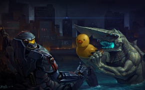 Picture the city, lake, robot, monster, humor, art, Bay, duck