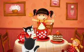 Wallpaper cats, table, tea, figure, doll, pie, girl, pictures, sweets, cake