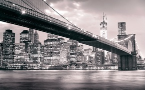 Picture Manhattan, black and white, skyscrapers, Brooklyn bridge, NYC, the city, lights, night, Brooklyn, building, river, ...