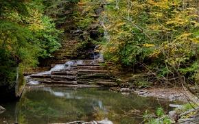 Picture Waterfall, Autumn, USA, USA, Fall, Autumn, Waterfall, Ithaca, Ithaca