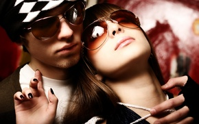 Picture girl, hat, glasses, pair, guy, manicure