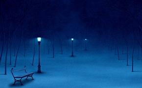 Picture snow, trees, bench, lantern