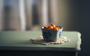 Picture table, background, tangerines