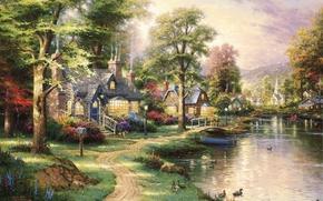 Wallpaper picture, houses, boat, the bridge, painting, duck, art, path, lake, Hometown Lake, beautiful, landscape, Thomas ...