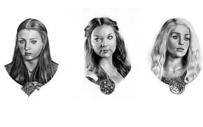 Wallpaper Margaery Tyrell, Daenerys Targaryen, pencil, Game of Thrones, figure, coat of arms, portraits, Sansa Stark