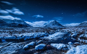 Picture winter, the sky, stars, snow, mountains, night, stream