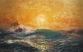 Picture sea, wave, foam, the sun, sunset, the wind, ship, michael zeno diemer