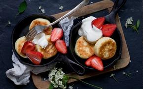 Wallpaper berries, strawberry, Board, plug, still life, flowers, pancakes, pans