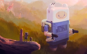 Picture forest, mountains, robot, art, Jack, adventure time, Adventure time, Finn, princess Bubblegum