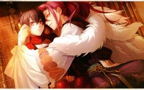 Picture hugs, hairstyle, fur, kimono, two, red eyes, art, shin, visual novel, miko, toki no kizuna, …