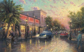 Picture the city, palm trees, street, the evening, bar, lights, USA, painting, painting, Thomas Kinkade, Florida, …