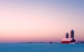 Picture The sky, Trees, Snow, Horizon, House