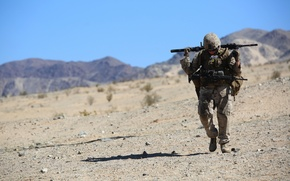 Picture weapons, desert, fatigue, soldiers, March