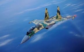 Picture the sky, fighter, bomber, the plane, multipurpose, super-maneuverable, su 35, Sukhoi