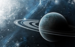 Picture space, the universe, planet, ring, art, Saturn