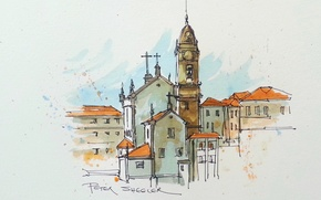 Picture figure, home, picture, watercolor, the urban landscape, the bell tower