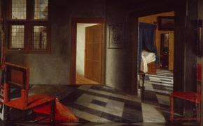 Picture room, interior, picture, the door, chair, Interior Of A Dutch Home, Samuel van Hoogstraten