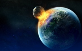 Picture fire, stars, planets, Sci Fi, collision