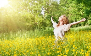 Picture girl, nature, freedom, enjoying, outdoors, sammer