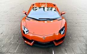 Picture orange, reflection, pavers, lamborghini, the front, orange, aventador, lp700-4, Lamborghini, aventador