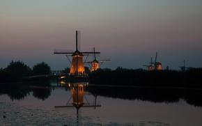 Picture the evening, mill, Netherlands, twilight, wind, Kinderdijk
