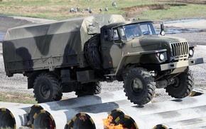 Picture background, truck, military, the front, Ural, test, 43206, Ural