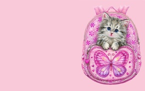 Picture art, kitty, backpack, children's