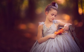 Wallpaper leaves, dress, mood, bokeh, girl