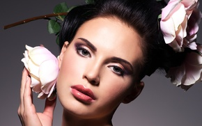 Picture eyes, look, girl, flowers, face, style, hair, hand, roses, makeup, hairstyle