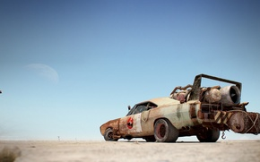 Wallpaper Daytona, barrel, art, rear view, turbine, Dodge, Charger, the moon, The charger, art, Dodge, Daytona, ...