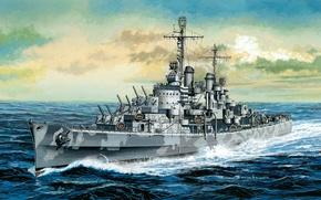 Picture easy, ship, art, USA, Navy, Stroy, cruiser, Navy, San Diego, Atlanta, type, WW2., light, fleet, …