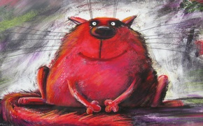 Picture cat, red, painting