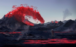 Picture space, people, mountain, astronaut, space, lava, man