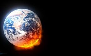 Picture art, planet, lava, destruction