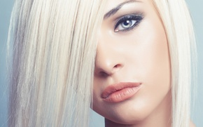 Picture eyes, look, girl, makeup, blonde, lips