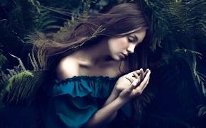 Picture girl, hair, sleep, fern, Ferns