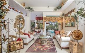 Picture bright, design, carpet, table, sofas, living room, curtains