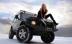 Picture girl, blonde, Lada, Rover, Niva, Lada 4x4