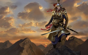 Picture rocks, sword, warrior, art, top, male, armor, gra, jiang you