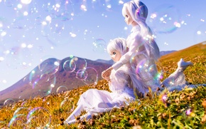 Picture summer, the sun, girls, mood, doll, meadow, bubbles
