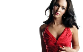 Picture white, Megan Fox, Dress red