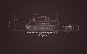 Picture information, tiger, minimalism, tank, Tiger, heavy, German, comparison