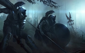 Picture forest, night, weapons, darkness, armor, war, art, swords, spears, guns