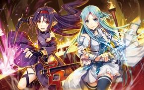 Picture girls, anime, art, Sword Art Online, Asuna Yuuki, Yuuki Konno