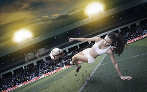 Picture girl, football, sport, the ball