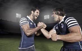 Picture football, sport, form, men, stadium, muscles, handshake, greeting