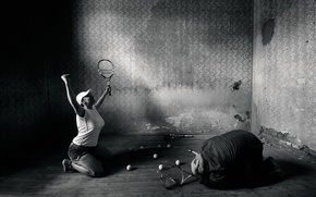 Picture girl, victory, man, tennis