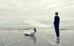 Picture girl, shore, surf, bath, sail, guy, The Promise Land